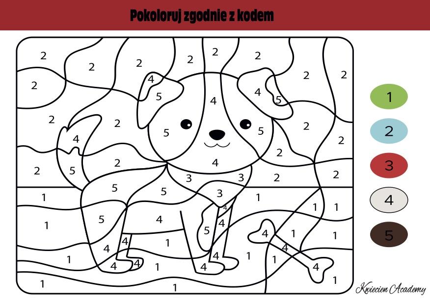 pies kolorowanie z kodem