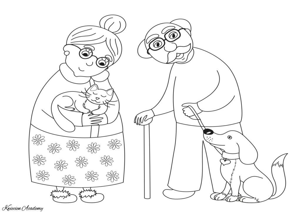 kolorowanka z okazji dnia babci i dziadka