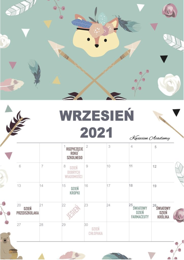 wrzesień kalenarz 2021
