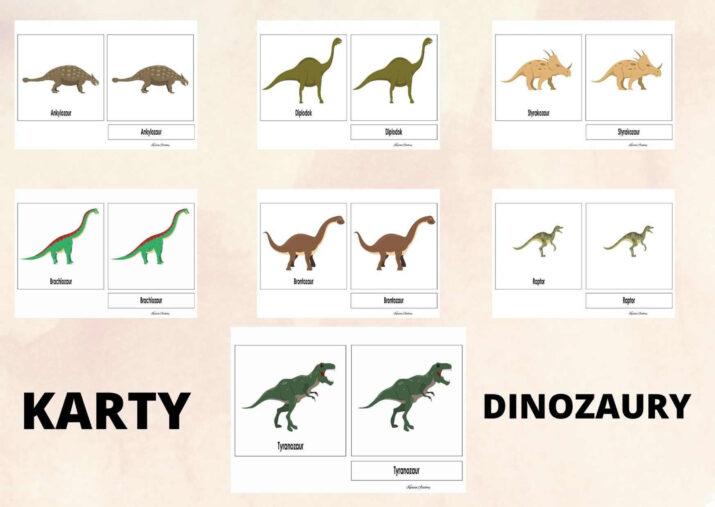karty trojdzielone dinozaury