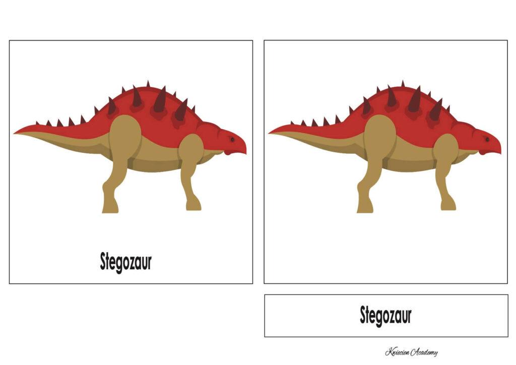 Karty trójdzielone - dinozaury